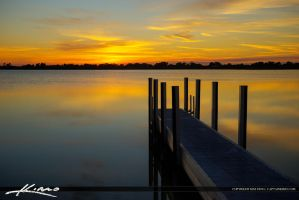 Boca-Raton-Sunset-at-Lake-with-Dock by CaptainKimo