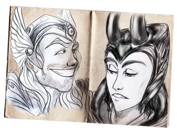 Brothers - Loki and Thor by TwilightGryphin