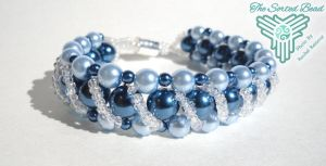 Beaded Bracelet, Right Angle Blue Glass Pearls by TheSortedBead