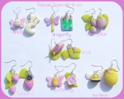 Kawaii Insects earrings set by Bojo-Bijoux