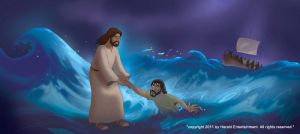 Jesus walking on water by henryz