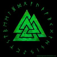 Valknut and Rune circle - green by KainMorgenmeer