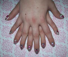Pink Rhinestone nails by chocobo-kisses