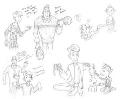 Arthur Christmas Sketches 3 by TheFishAndTheBird