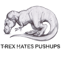 T-Rex Hates Pushups Tshirt Design by LittleMeesh
