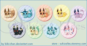 : Eevee family buttons set : by bibi-chan