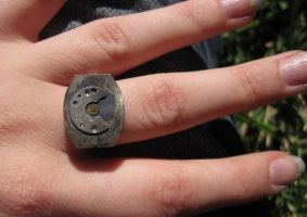 Steampunk Cresent Moon Ring by PunkTrunk