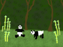 Pandas in a forest by Tux-t-penguin