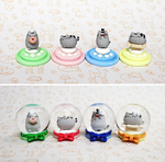 Pusheens in Snow Globes by lyrese