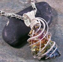 BOLD Bismuth Crystal and Silver Pendant by HeatherJordanJewelry