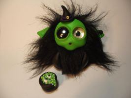 Hazel the Witch - Polymer Clay w Faux Fur by Orang3Marmalade