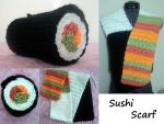 Crocheted Sushi Scarf by MazokuCreations
