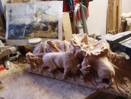 Bull fighting in progress5 by woodcarve