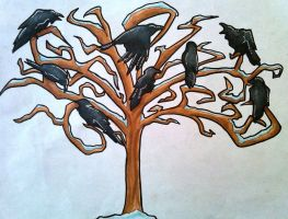 raven tree by iwuvrubberduckies