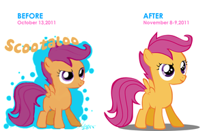 Scootaloo -befor and after- by Fluttertroll
