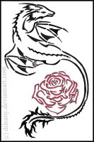 Dragon and Rose tattoo by Dileany