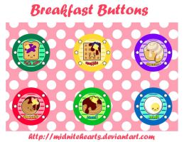 Breakfast Button Designs by MidniteHearts