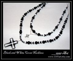 Black and White Cross Necklace by 1337-Art