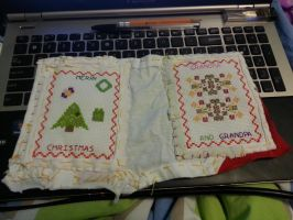 Merry Christmas Grandparents Cross-Stitched Card by t0pd0g4evr