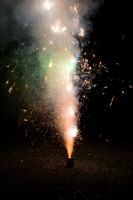 sparkly green and red fireworks by photogooroo
