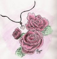 Watercolour Roses and Necklace by Horu-chan