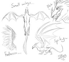 Dragon Wing Practise Sketches by Silverlykta