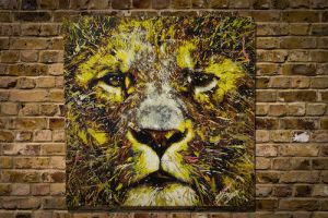 spray paint art LION original by colorpeoject