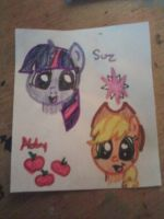 Twilight and Applejack (Suz and Abby) by AbbyCatWolff