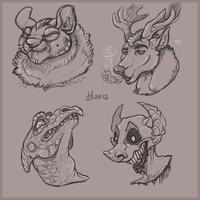 random headshots shketches by Ganja-Shark