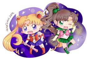 CHIBI SAILOR MOON AND CHIBI SAILOR JUPITER by MeroTenshi