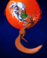 Okami Battle: Ammy VS Tube fox by NoviLunar