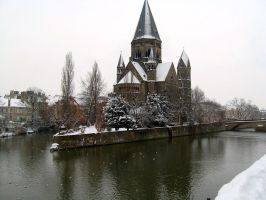 Snowy Church on The Water by EstrellaDelVenice258