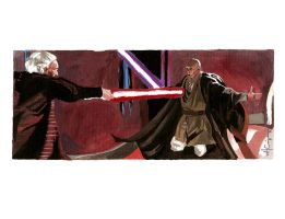Mace Windu Vs. Palpatine by ncajayon