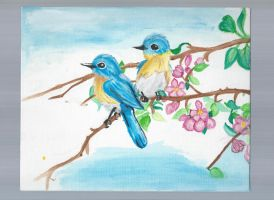 Birds on a branch WIP painting by Drawing-Heart