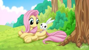 Fluttershy and Angel 1920 by mysticalpha