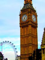 Big Ben and the London Eye by Kaligem