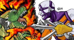 Oekaki: Voldo vs Lizardman by BlackHarpyGoddess