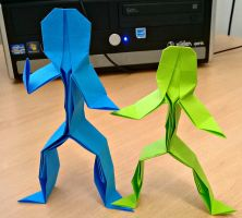 Origami Stick People by bonztee