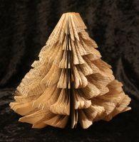 Christmas Tree Cut Book Sculpture by wetcanvas