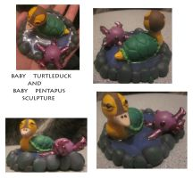 Turtleduck and Pentapuss by noonetells