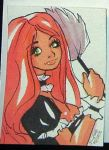 Red Head French Maid Aceo by raccoon-eyes