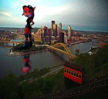 Giantess Evil Coco in Pittsburgh. by RPM1000