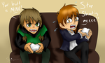 Art Trade: Soma and Roby playing CoD by Copper-Wings