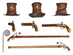 Steampunk Hat Cane Pistol and Monacle by Roys-Art