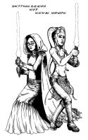 Barriss Offee and Aayla Secura by Tathrin