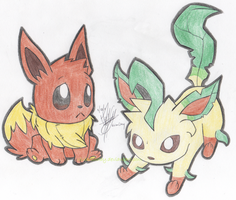 Eevee and Leafeon by vivianchhay