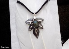'Silver leaf', handmade sterling silver pendant by seralune