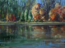 Reflection (lake) oil paint by Boias