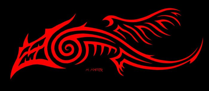 Maderlorian Tribal Dragon (Red and Black) by Maderlore