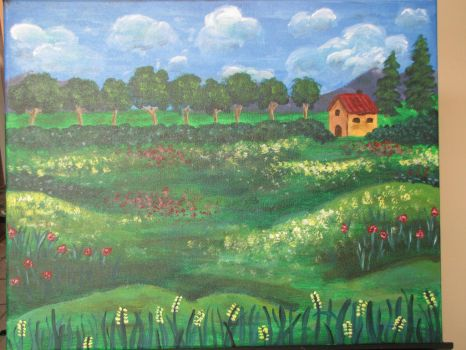 Cottage and Fields by PumpkinJack6